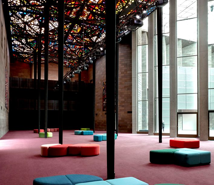 The Great Hall in the National Gallery of Victoria (NGV) featuring Bauhaus by LEN, photographed by Sean Fennessey