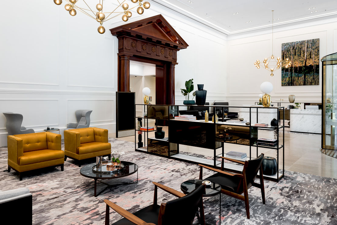 Lobby at 225 St Georges Terrace, Woods Bagot. Photography: Dion Robeson