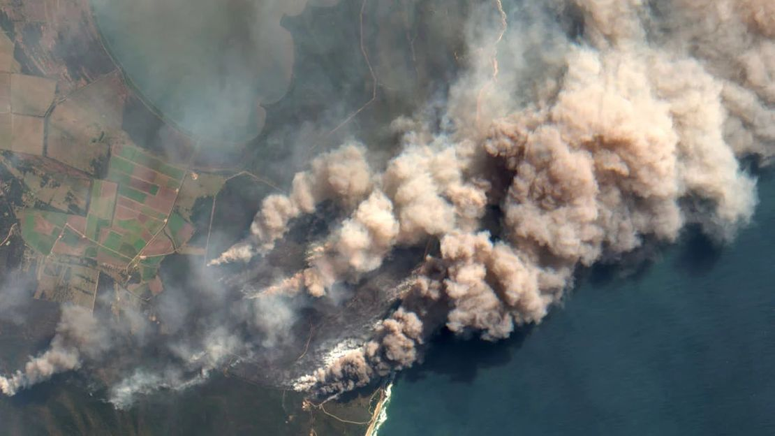 Aerial view of some of the 2019-2020 Australian bushfires   Photograph from Getty Images