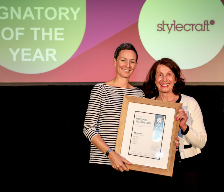 Jacqui Wagar, Stylecraft Sustainability Leader, receiving the NSW 2018 New Signatory of the Year award at the National CitySwitch awards ceremony.